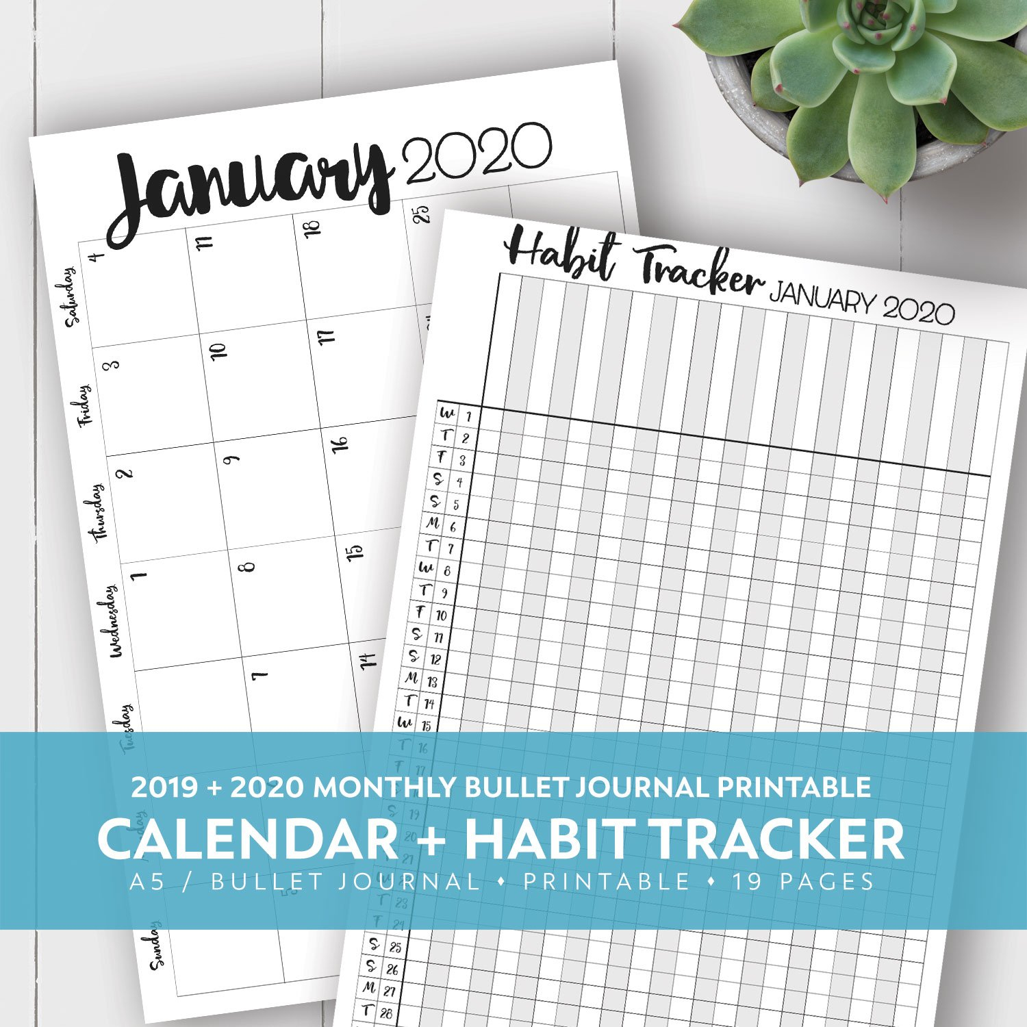 2019 + 2020 Monthly Printable Calendar + Habit Tracker Kit 5.5 X 8.5 Inch Calendar