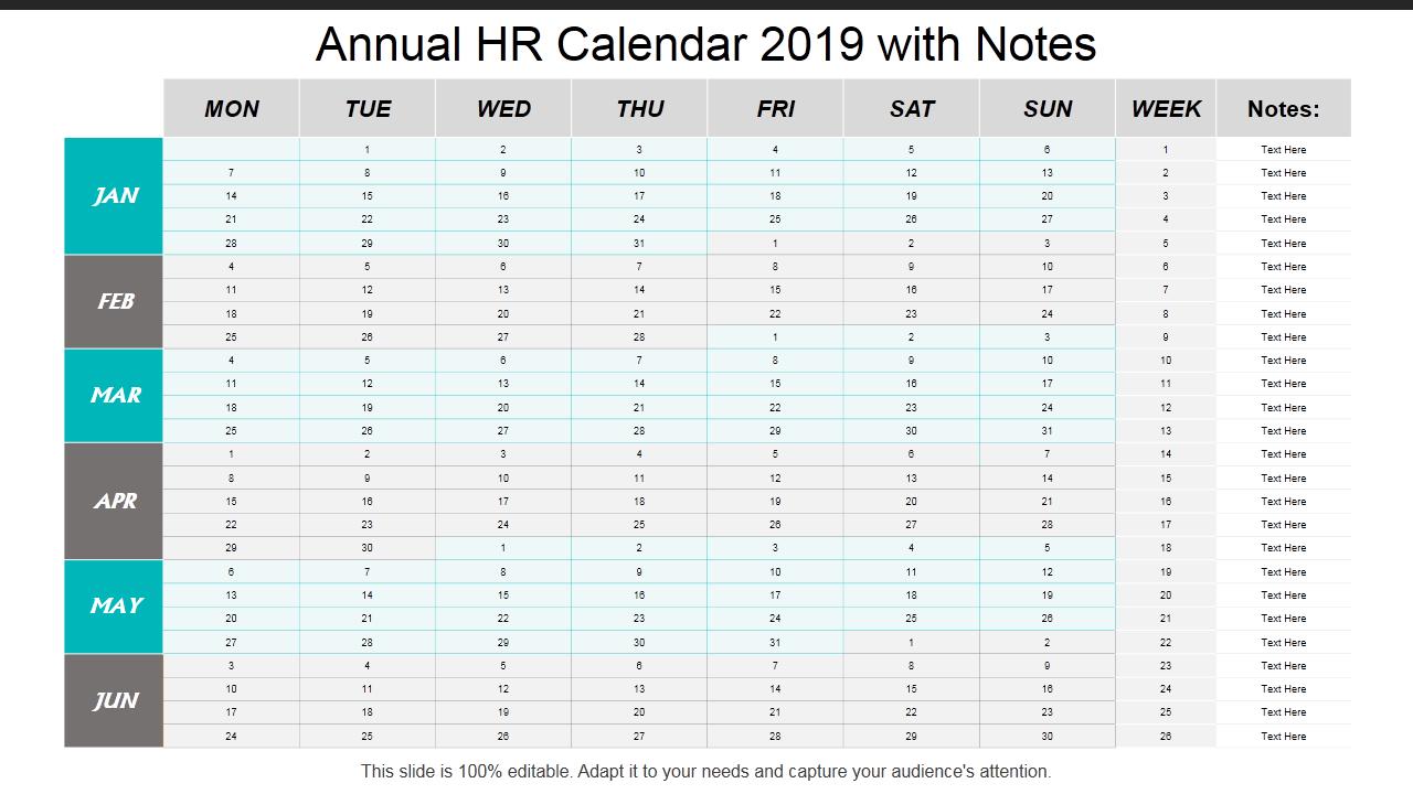 2019 Calendar: 13 Powerpoint Calendar Templates - The Hr Calendar For The Year