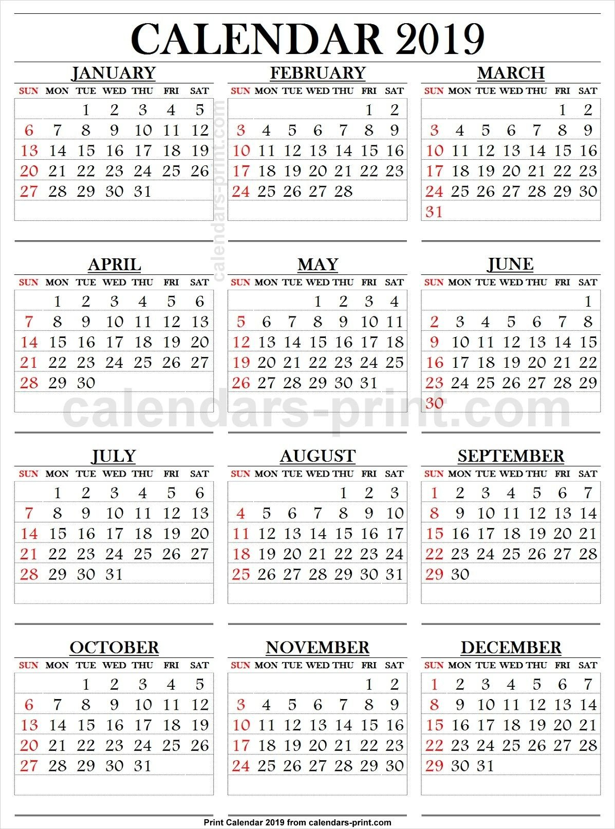 2019 Calendar Large Numbers (With Images) | 2019 Calendar Large Printable Numbers For Calendar