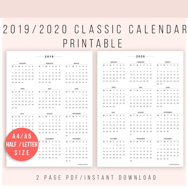 2019 Calendar Printable | Calendar 2020 | Calendar Print 8 By 11 Size Calendar Template