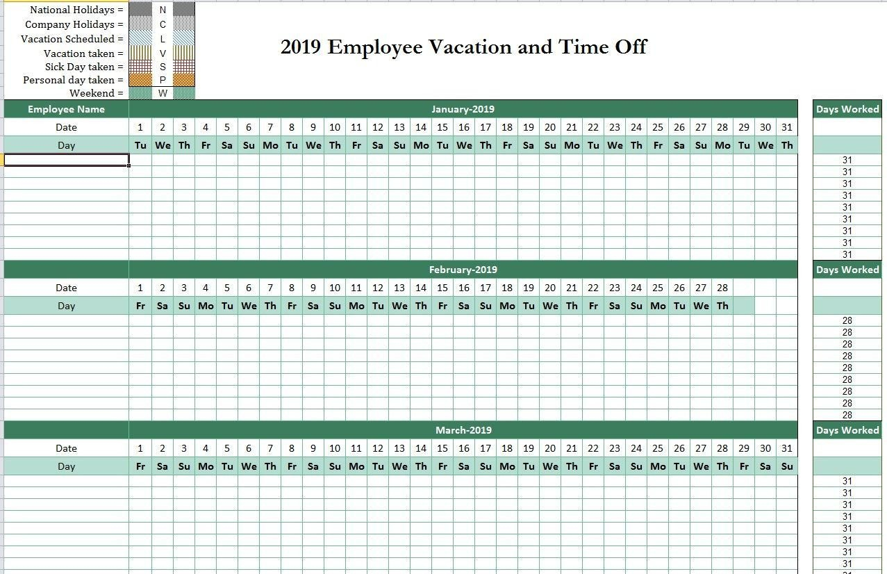2019 Employee Attendance Tracking Calendar From Employee Printable Hr Annual Calendar For Time Off 2019