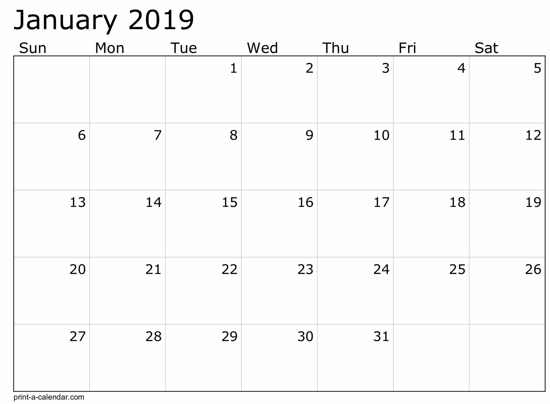 2019 Free Printable Calendar Templates - A Mother's Random 8 1/2 X 11 Blank Calendar Pages