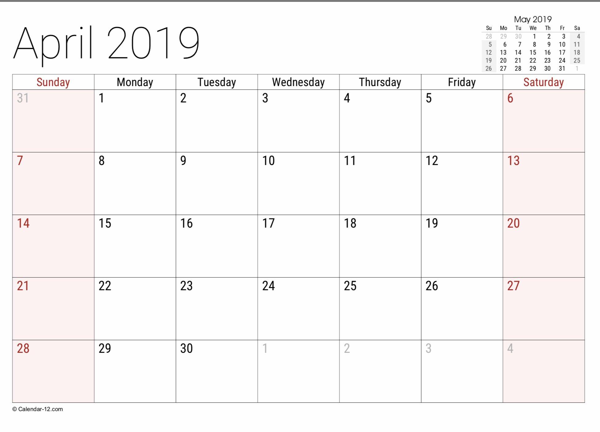 2019 Free Printable Calendar Templates - A Mother's Random Free 8 1/2 By 11 Blank Calendar