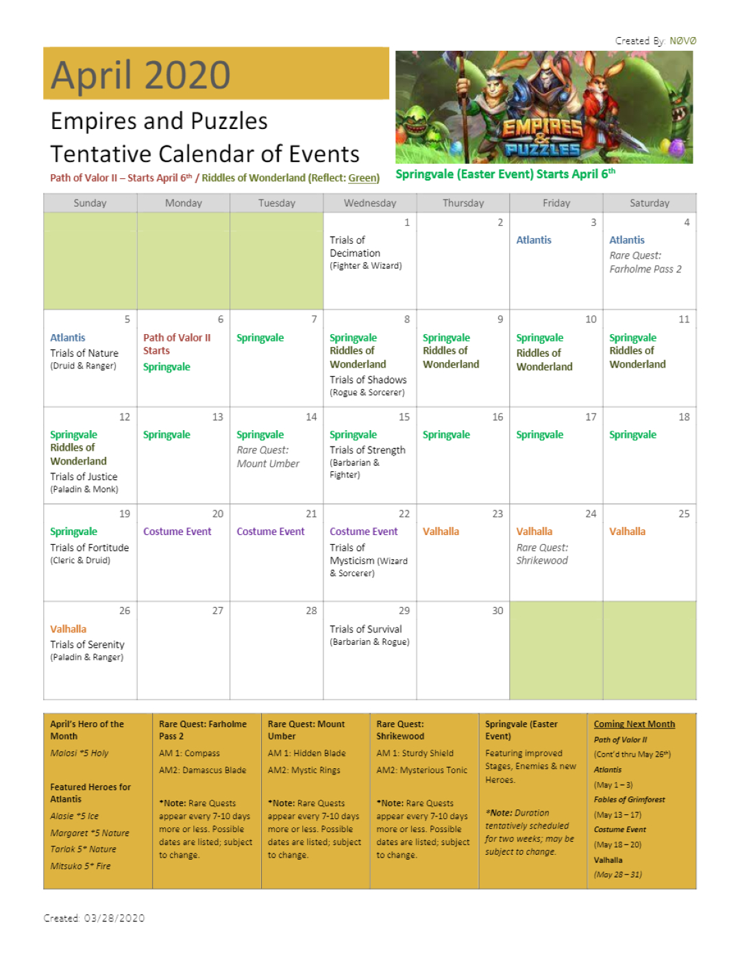 2020 April Calendar Of Events (Dates Are Tentative And May Two Weeks In May Calendar