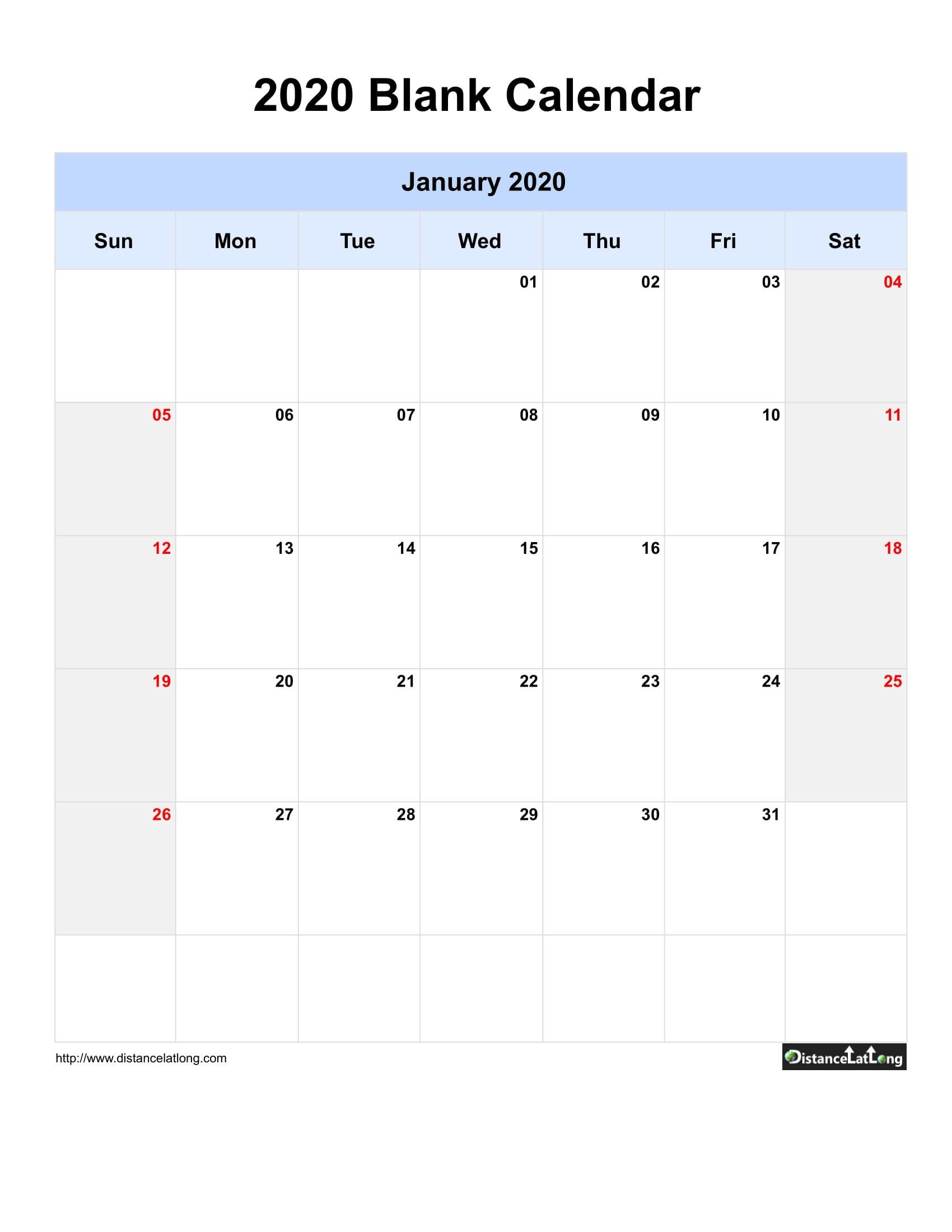 2020 Blank Calendar Blank Portrait Orientation Free One Week Printable Calnedar