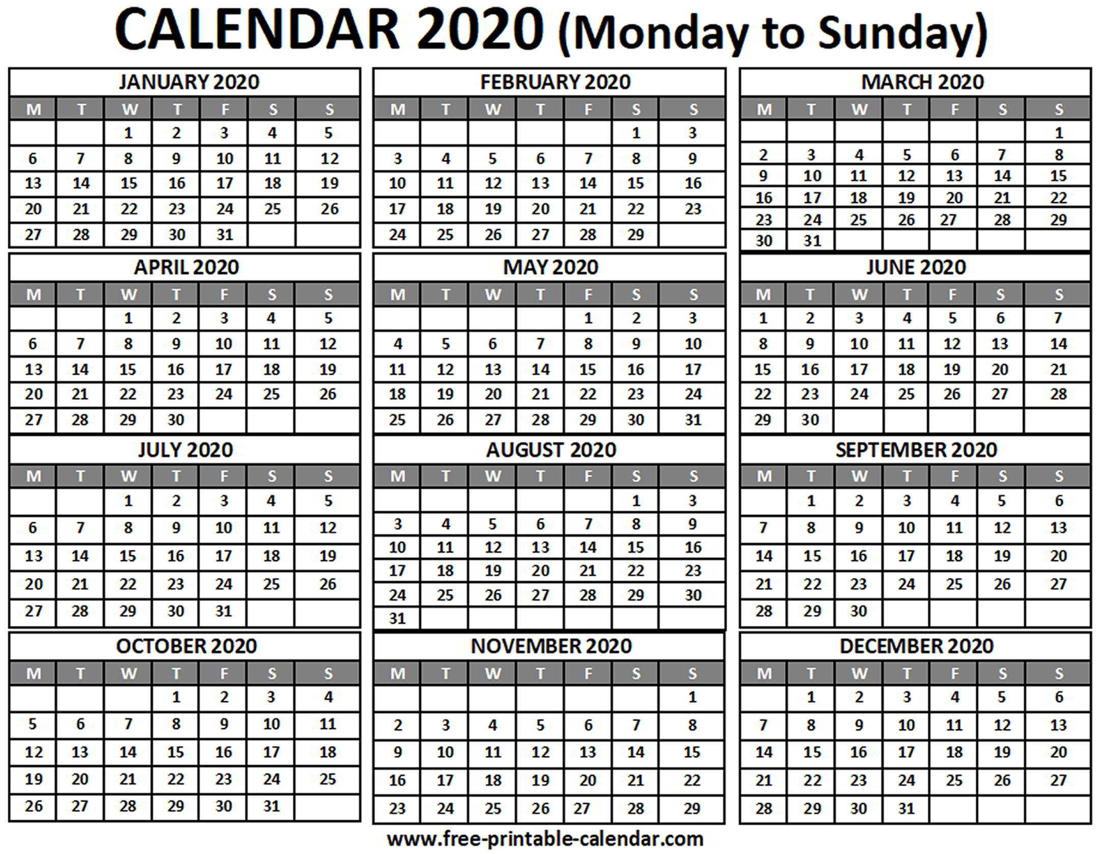 2020 Calendar – Free-Printable-Calendar Free Print Color Coded Calendar