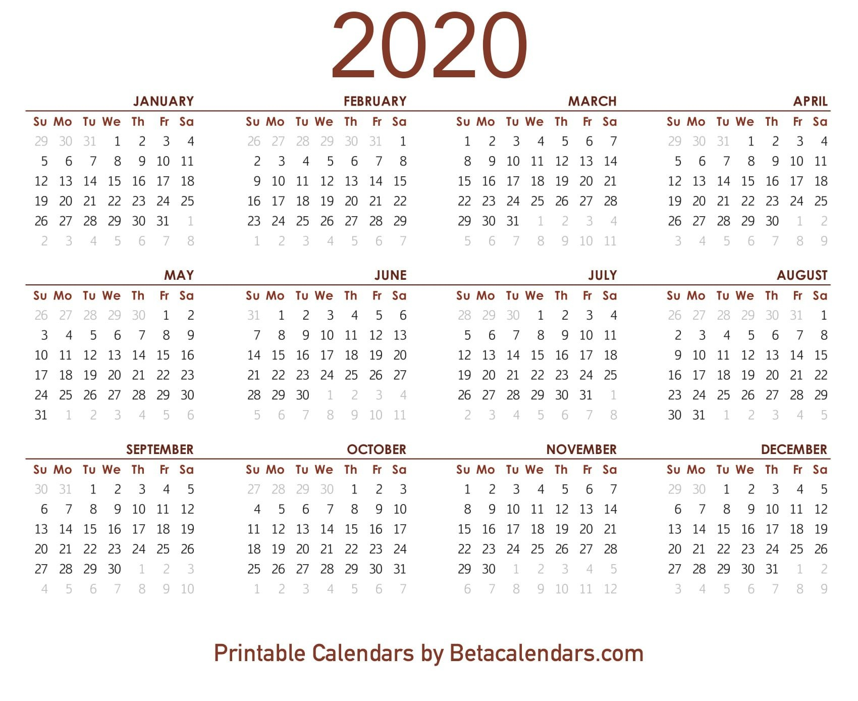 2020 Calendar – Free Printable Yearly Calendar 2020 8 1/2 X 11 Printable May Calendar
