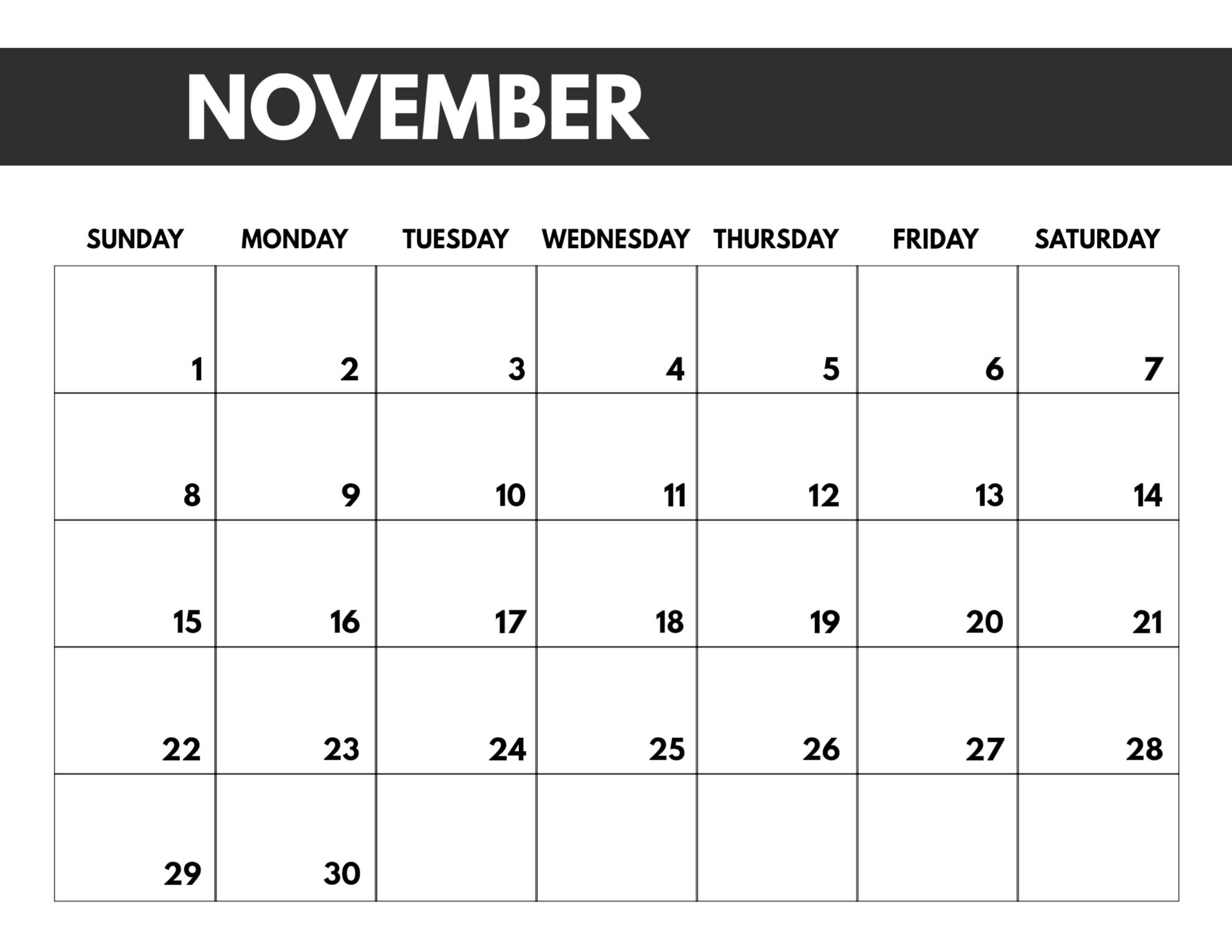 2020 Free Monthly Calendar Template - Paper Trail Design Free Printable Calendar Large Blocks