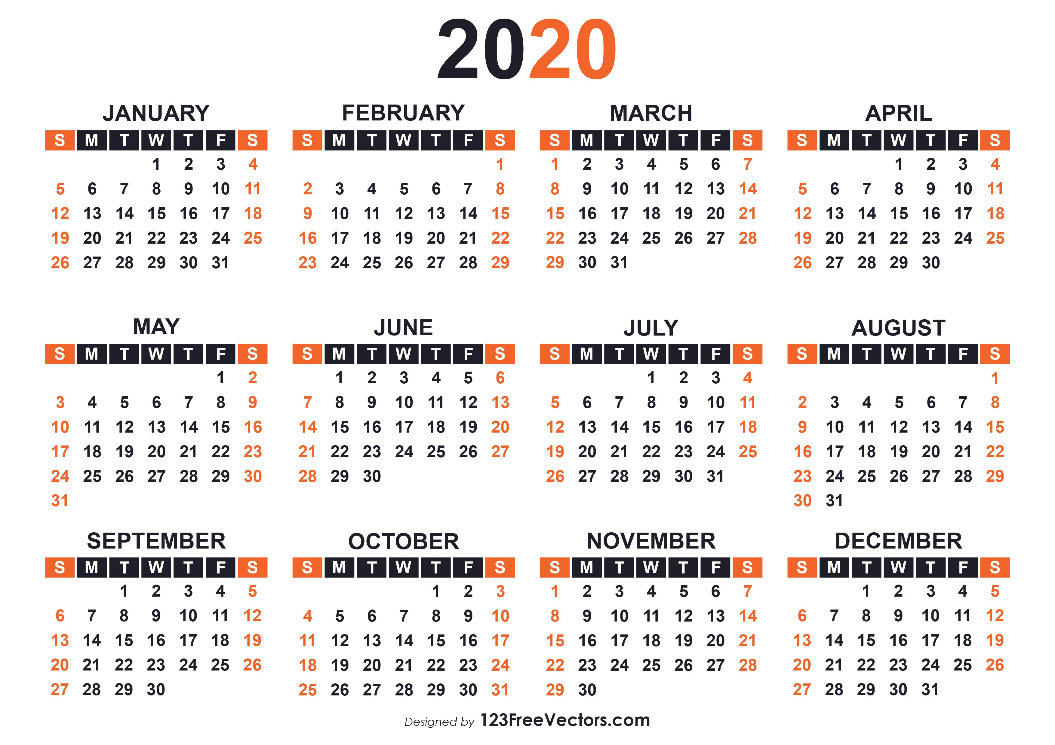 2020 Free Printable Calendar Templates Free Print Color Coded Calendar