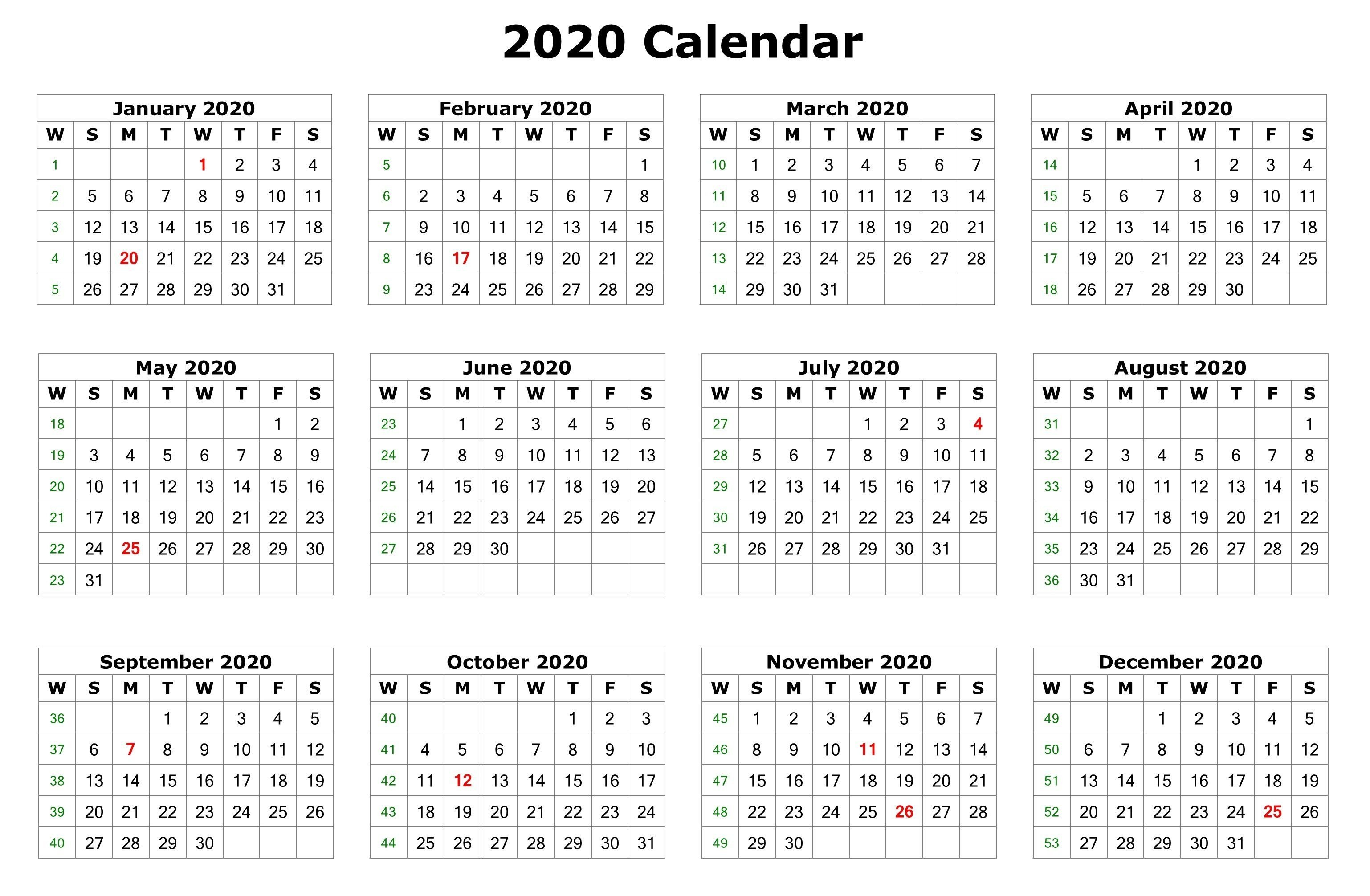 2020 One Page Calendar Printable | Calendar Printables Printable Multi Year Calendars On One Page