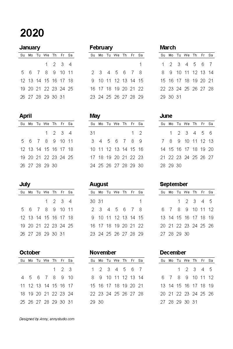 2020 Pdf Printable Calendar(이미지 포함) | 플래너, Diy 카드 4 Year Calendar Template