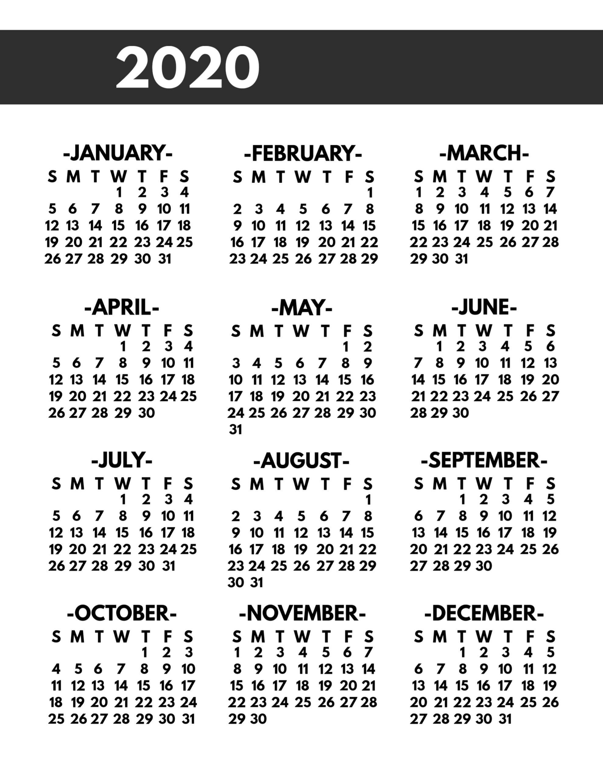 2020 Printable One Page Year At A Glance Calendar - Paper 1 Page 8.5 By 11 With 2 Years Calendar