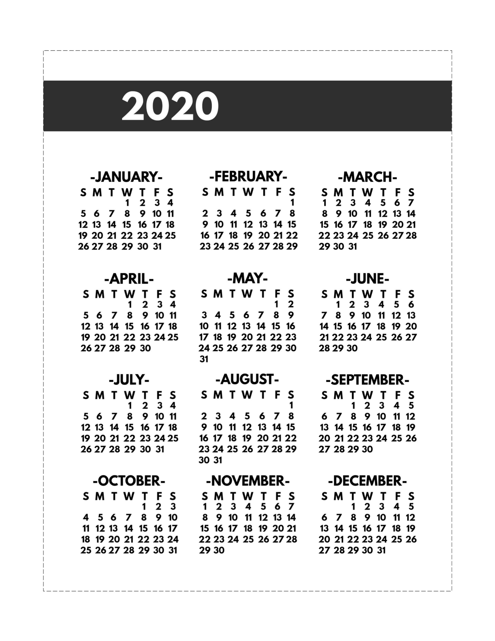 2020 Printable One Page Year At A Glance Calendar - Paper 8 By 11 Size Calendar Template