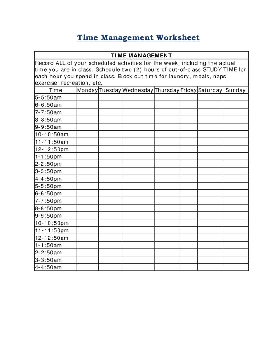 2020 Time Management - Fillable, Printable Pdf & Forms Free Downloadable Time Management Calendar