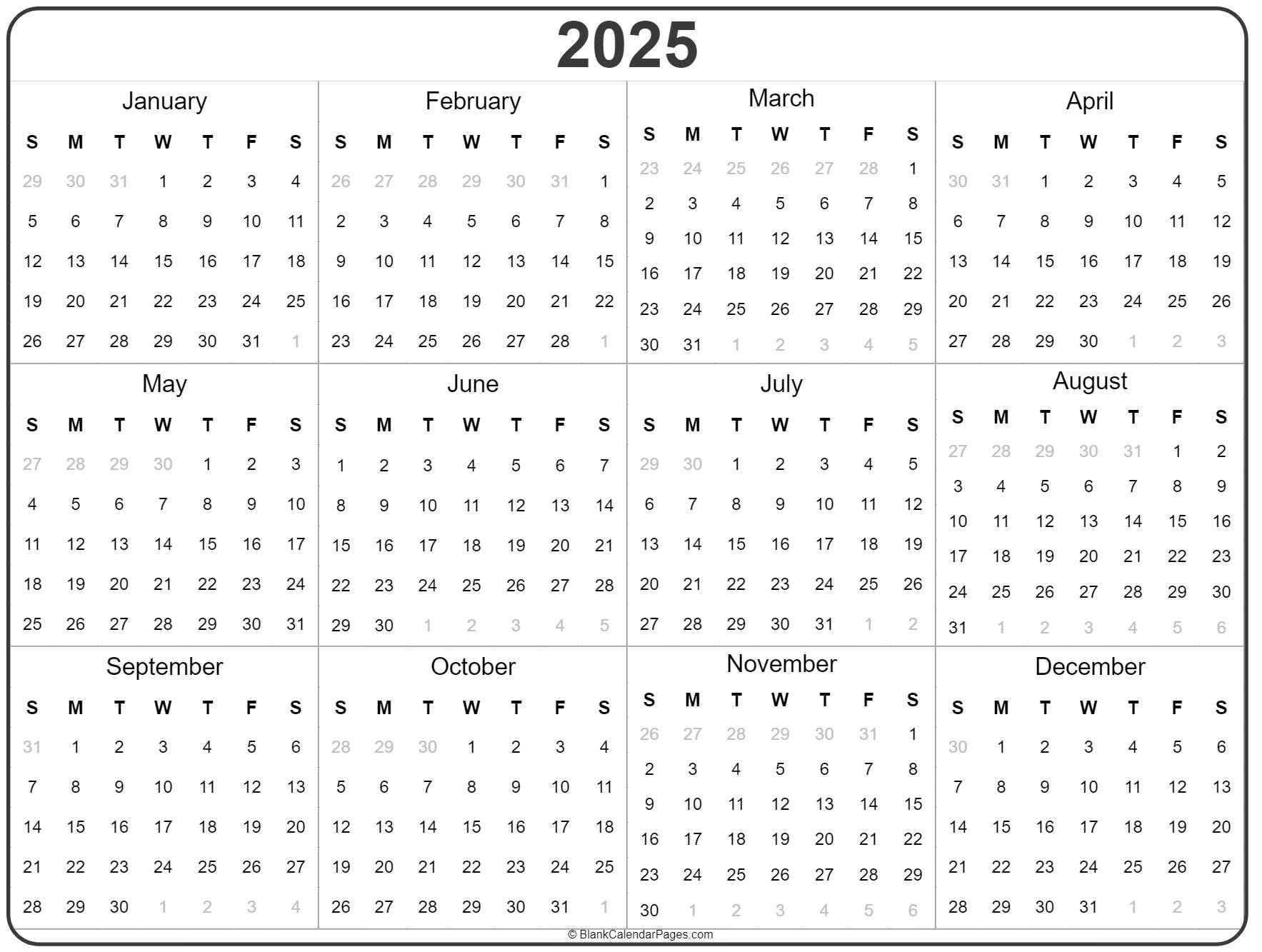 2025 Year Calendar | Yearly Printable Printable 5 Year Calendar