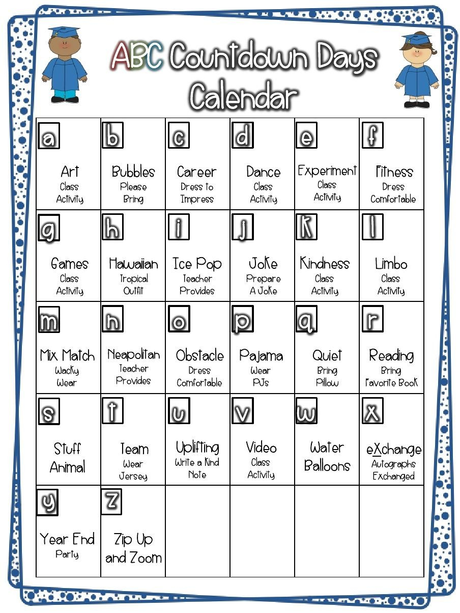 26 Day Countdown To The Summer | School Countdown, End Of Five Year Countdown Calendar