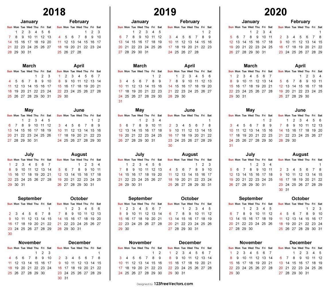 3 Year Calendar 2018 2019 2020 Printable (С Изображениями Printable Multi Year Calendars On One Page