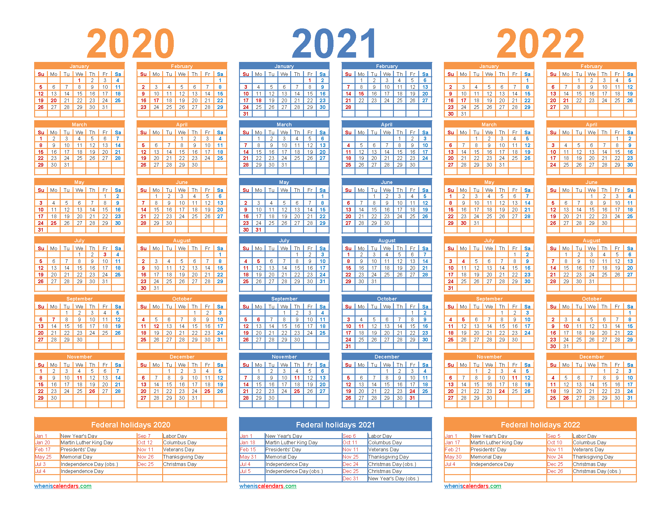 3 Year Calendar 2020 To 2022 Printable | Free Printable 2020 Printable Multi Year Calendars On One Page