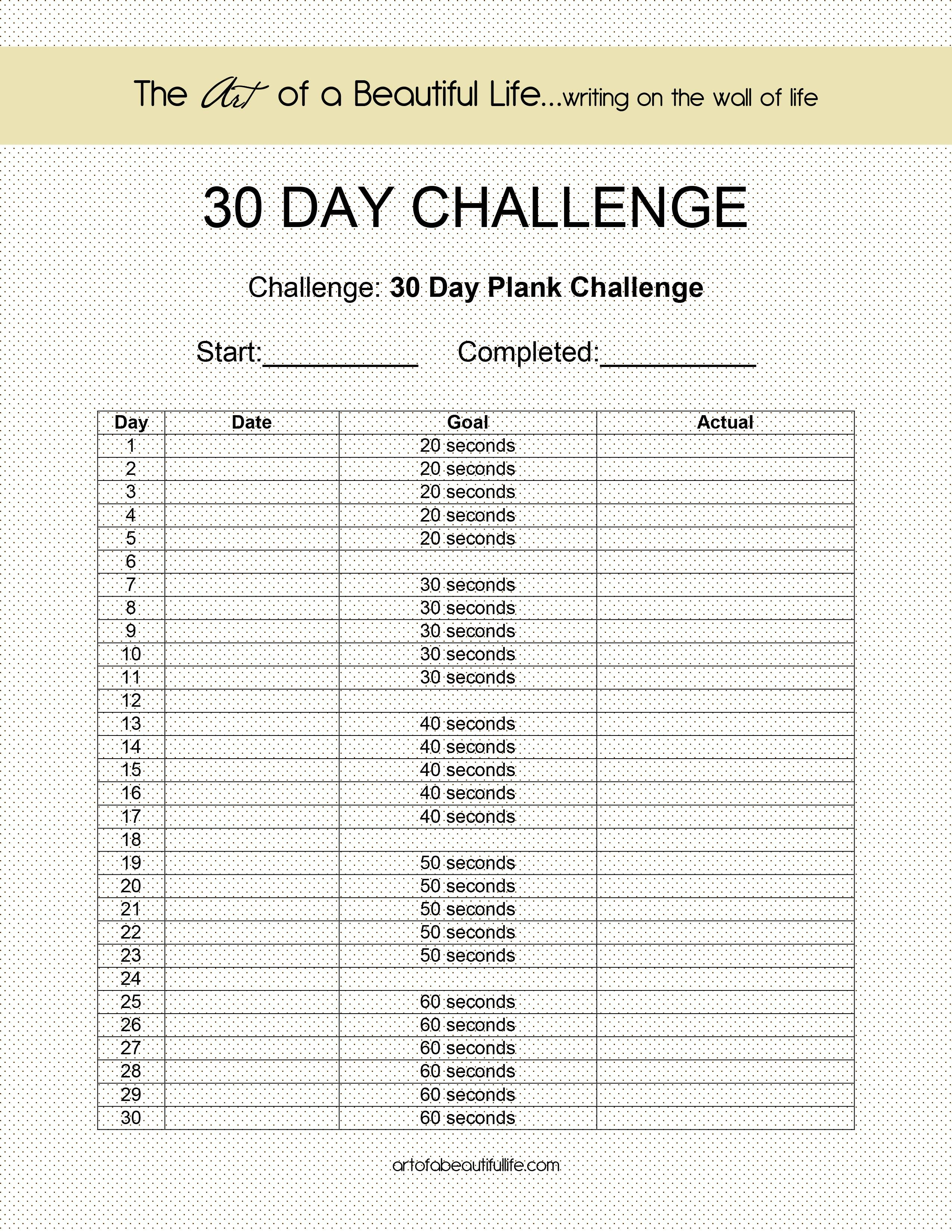 30 Day Challenge - Easy Plank (With Images) | 30 Day Plank 30 Day Challenge Printable