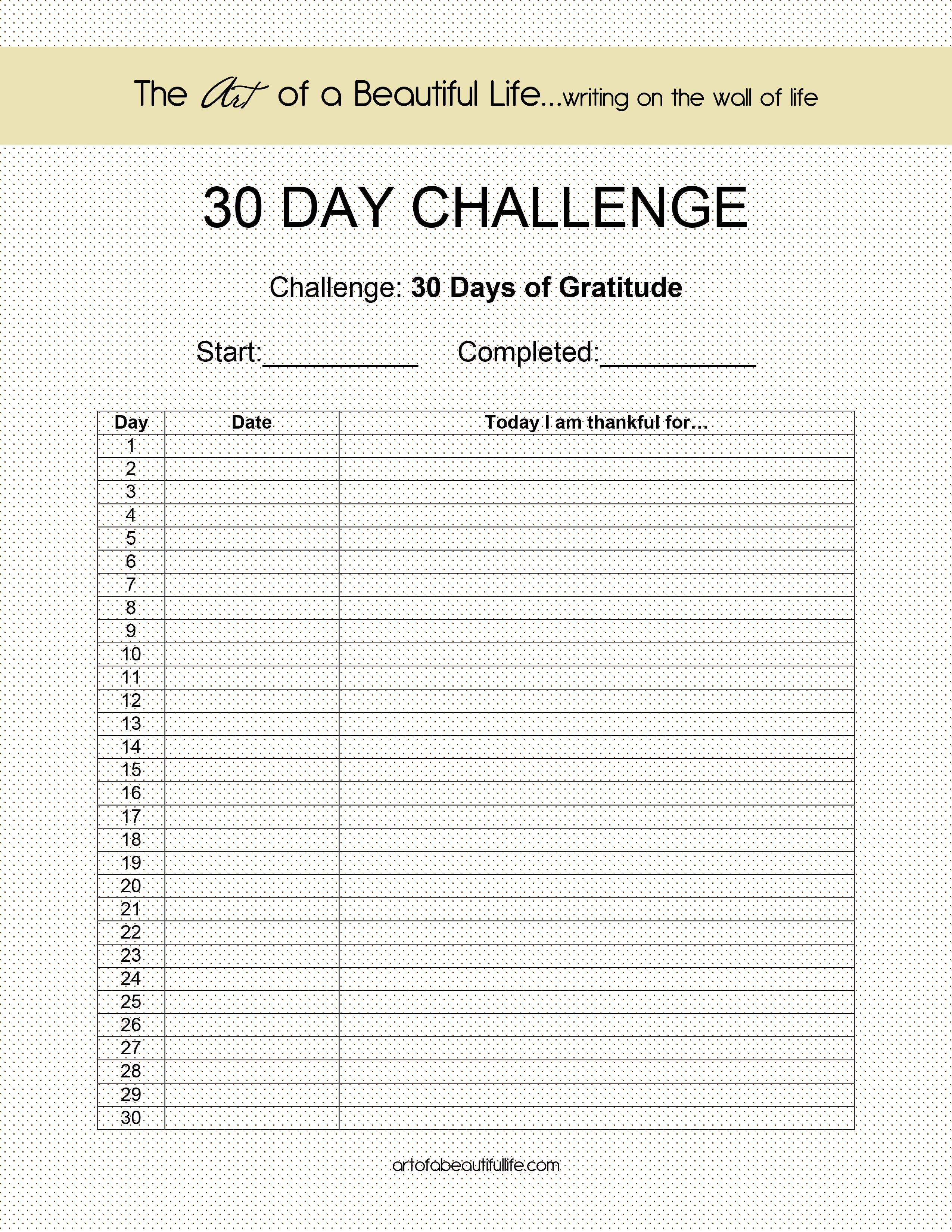 30 Day Challenge - Gratitude | 30 Day Challenge, 30 Day Plank 30 Day Challenge Excel