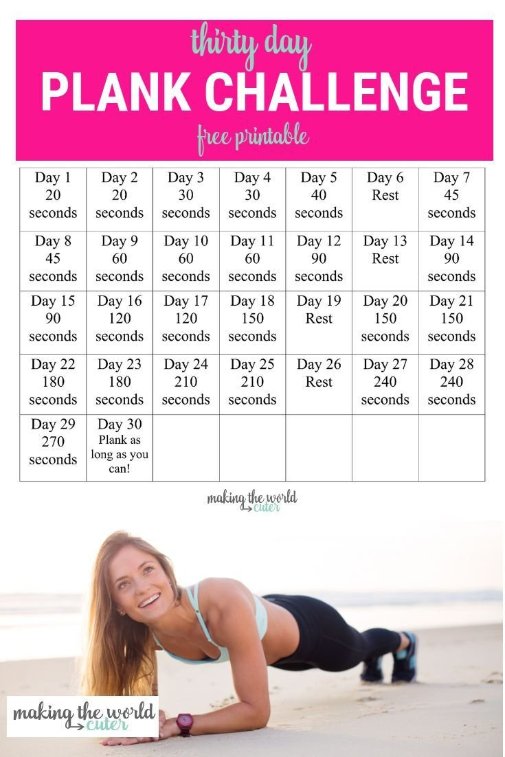 30 Day Plank Challenge Chart (With Images) | 30 Day Plank Squat Challenge Calendar Beginner Printable