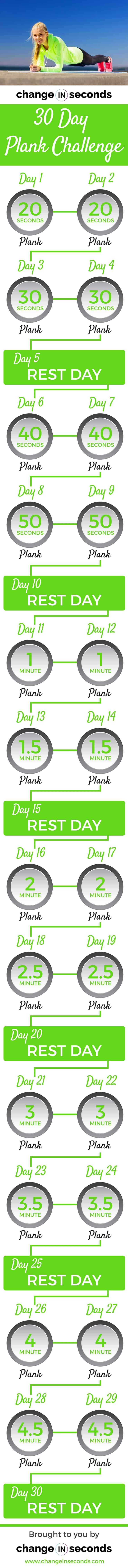 30 Day Plank Challenge For A Seriously Strong Core (Download Plank Challenge Chart Print Out