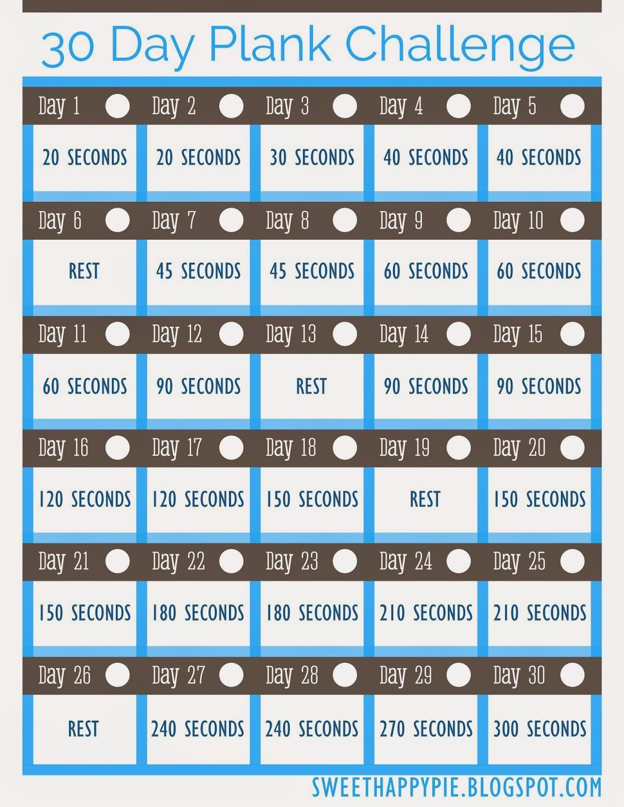 30 Day Plank Challenge ~ Free Pretty Printable! (With Images Plank Challenge Chart Print Out