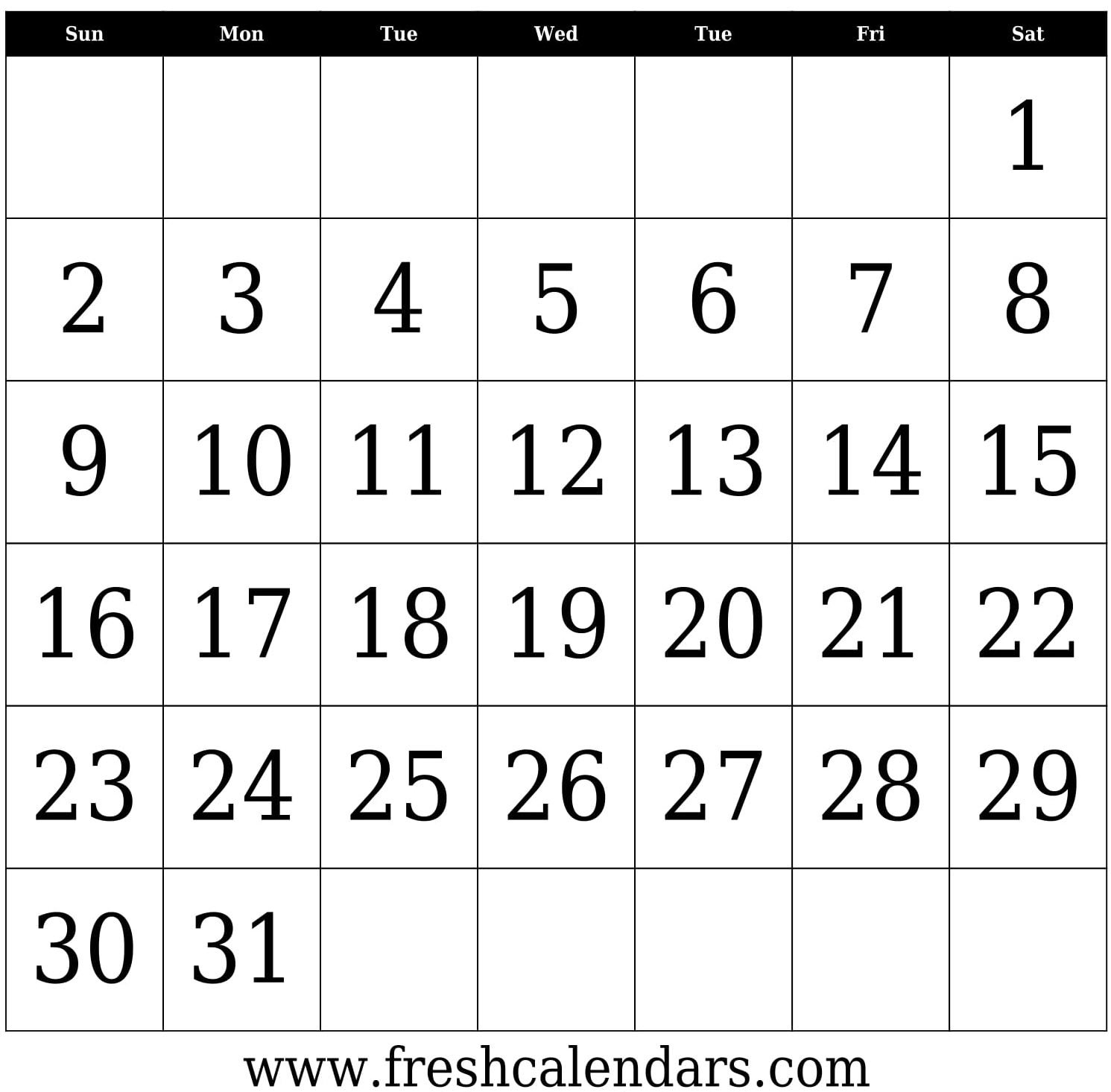 31 Day Calendar Template Printable – Samyysandra 31 Day Calendar Templates