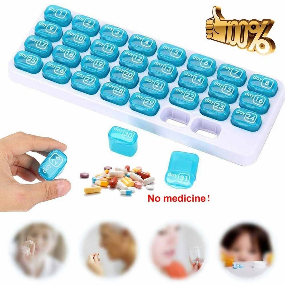 31 Days Month Weekly Medicine Storage Tablet Pill Sorter Pill Case  Organizer Box Image Box Of 31 Days