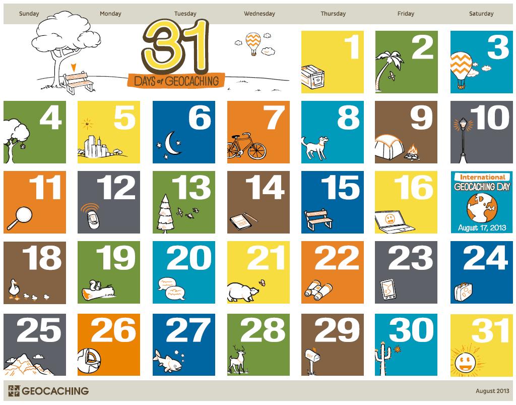 31 Days Of Geocaching Printable Calendar – Official Blog 31 Day Calendar Printable