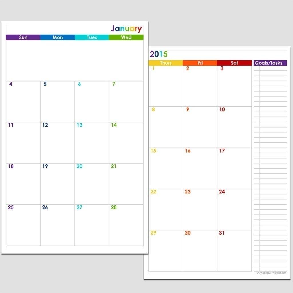 5.5 X 8.5 Calendar Template | Monthly Printable Calender 5.5 X 8.5 Calendar Template