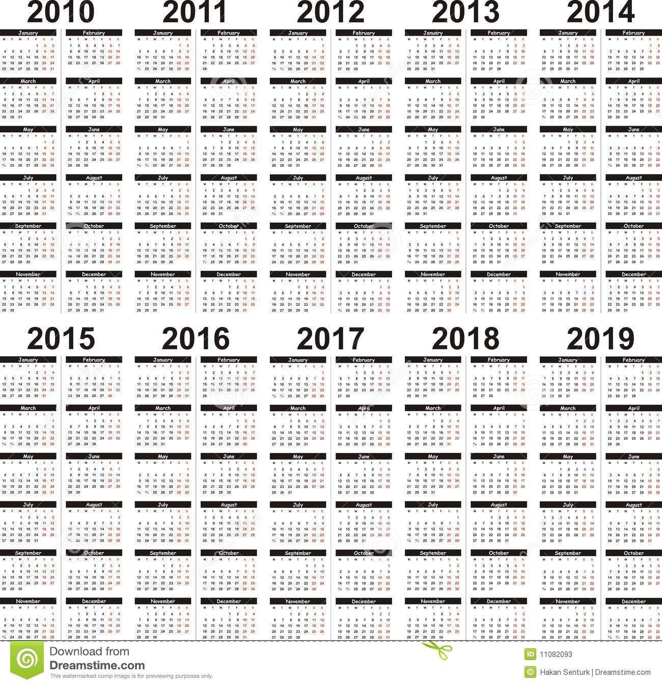 5 Year Calendar (With Images)   5 Year Calendar, Calendar Printable 5 Year Calendar