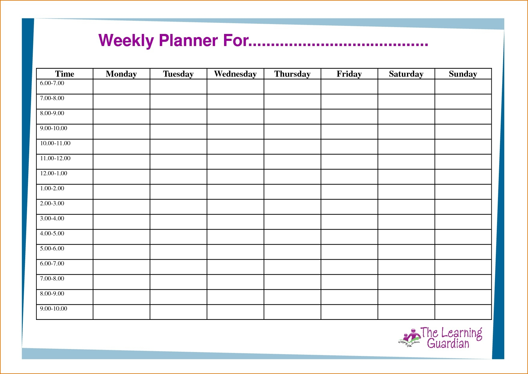 6 Week Calendar Template Word | Free Calendar Template Example 4 Week Planner Template Word