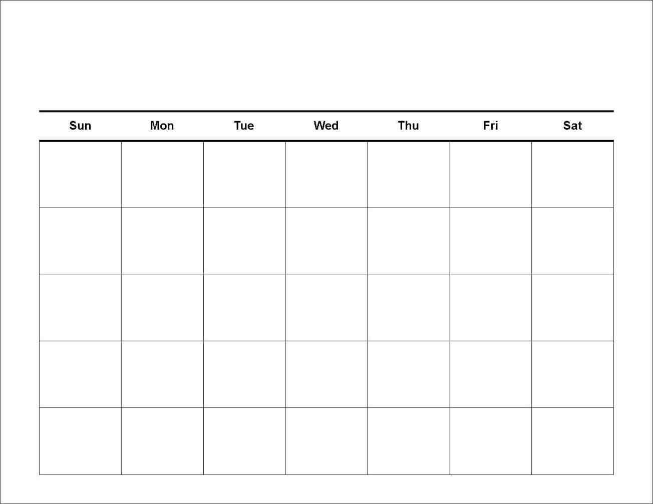 7 Day Calendar Template | Printable Calendar Grid, Weekly 7 Day Schedule Template Blank