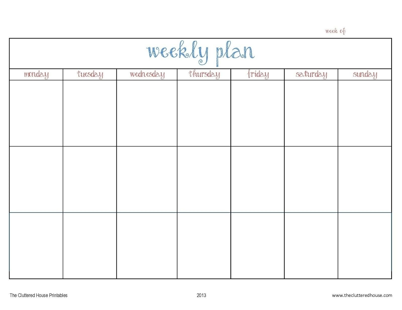 7 Day Weekly Planner Template Printable – Template Calendar Blank 7 Day Calendar Template