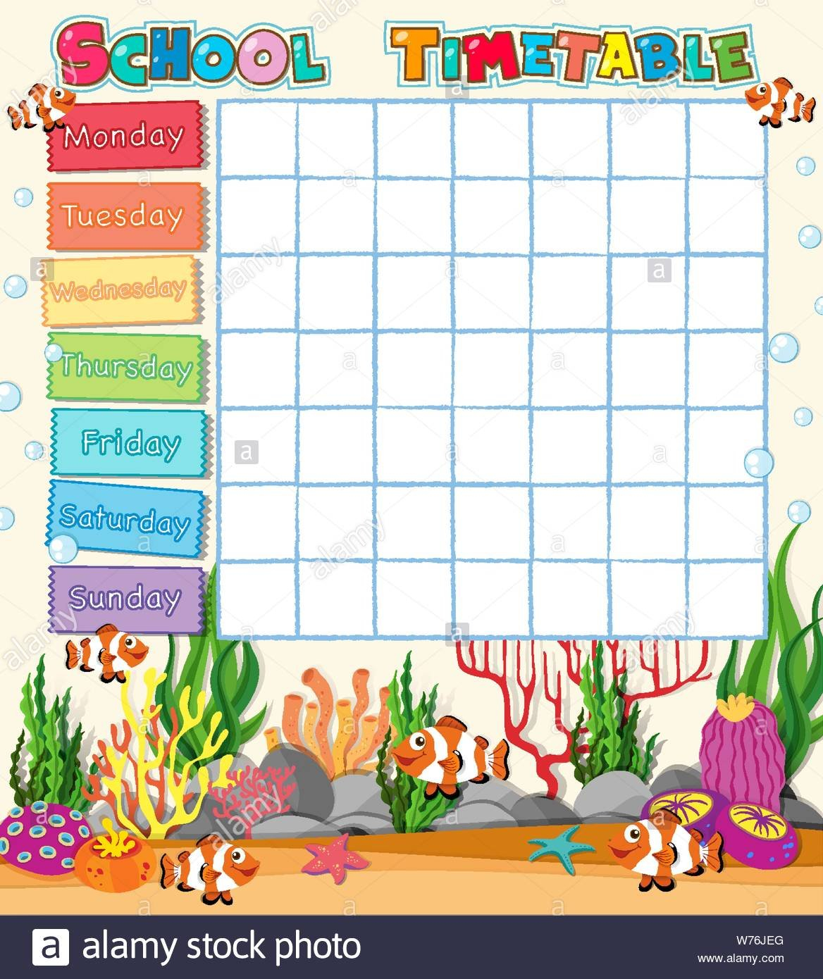 A School Timetable Blank Template With Cartoons Stock Vector Blank Monday To Friday Timetable