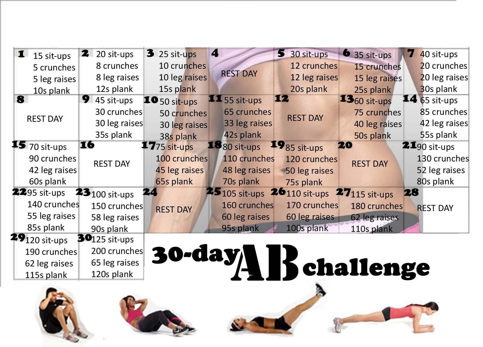 Abs Challenge Chart - Caska Plank 30 Day Challenge Excel