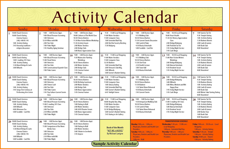 Activity Calendar Template – Printable Week Calendar Free Printable Church Calendar Templates