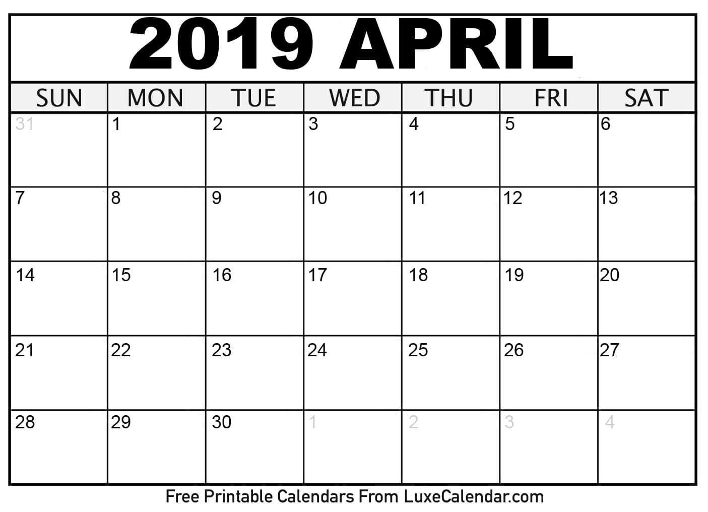 April Calendar 2020 – Printable Template Free Download 8X11 Printable Monthly Calendar