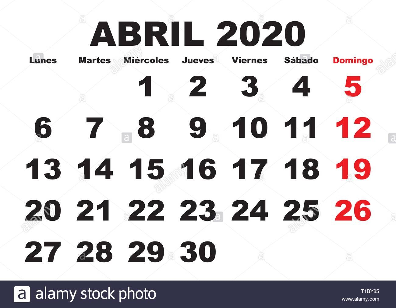 April Month In A Year 2020 Wall Calendar In Spanish. Abril April And May Calendar On 8 1/2 X 11 Sheet
