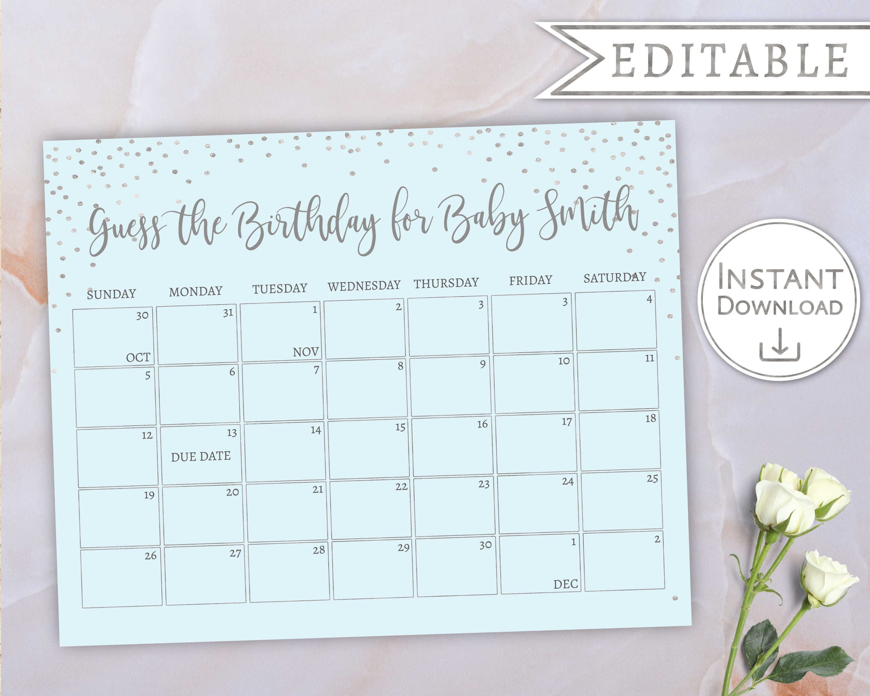 Baby Due Date Calendar, Guess Babys Birthday, Baby Boy Blue Calendar For Guessing Baby Due Date