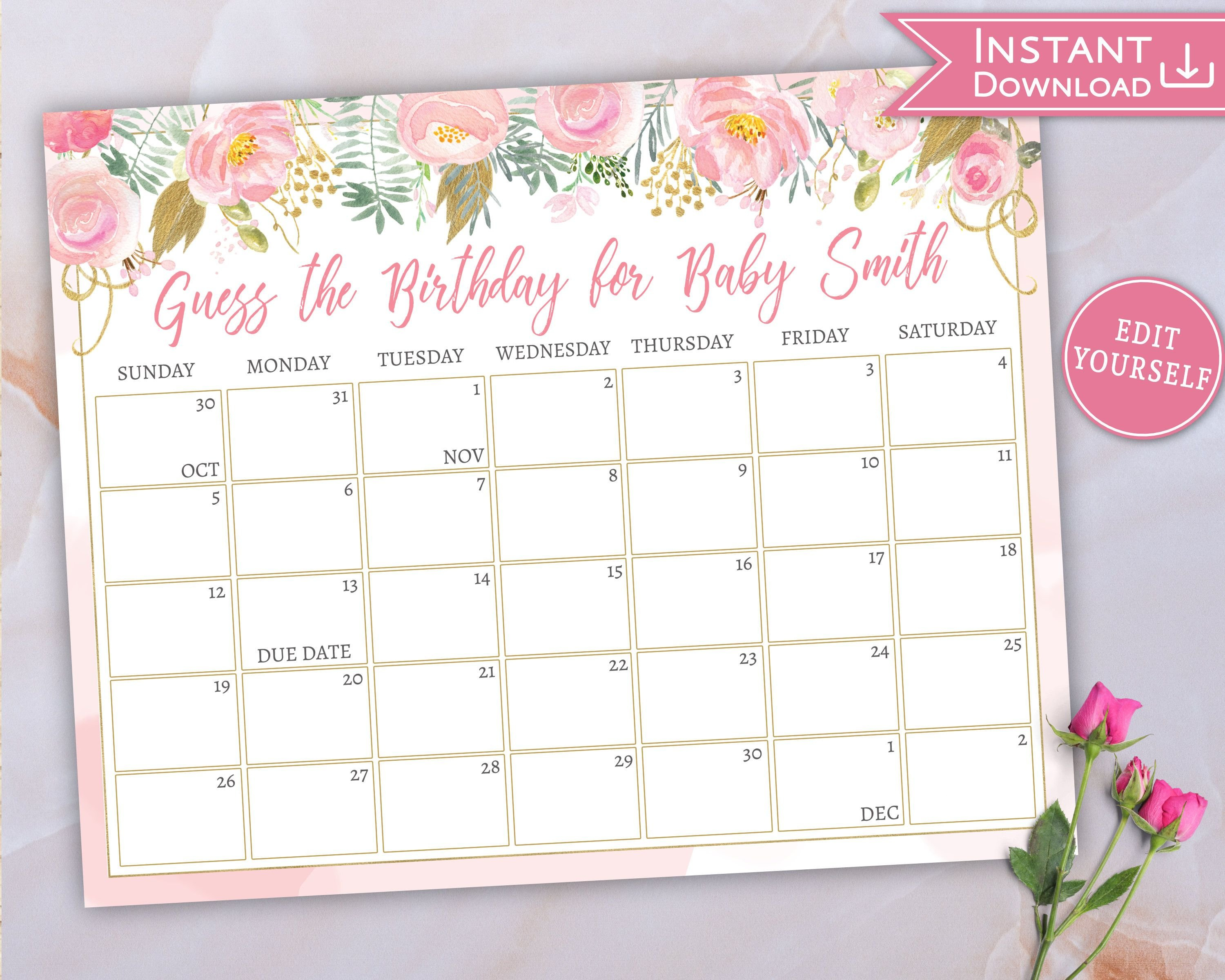 Baby Due Date Calendar, Guess Baby's Birthday, Floral Pink Guess The Due Date Printable Calendar