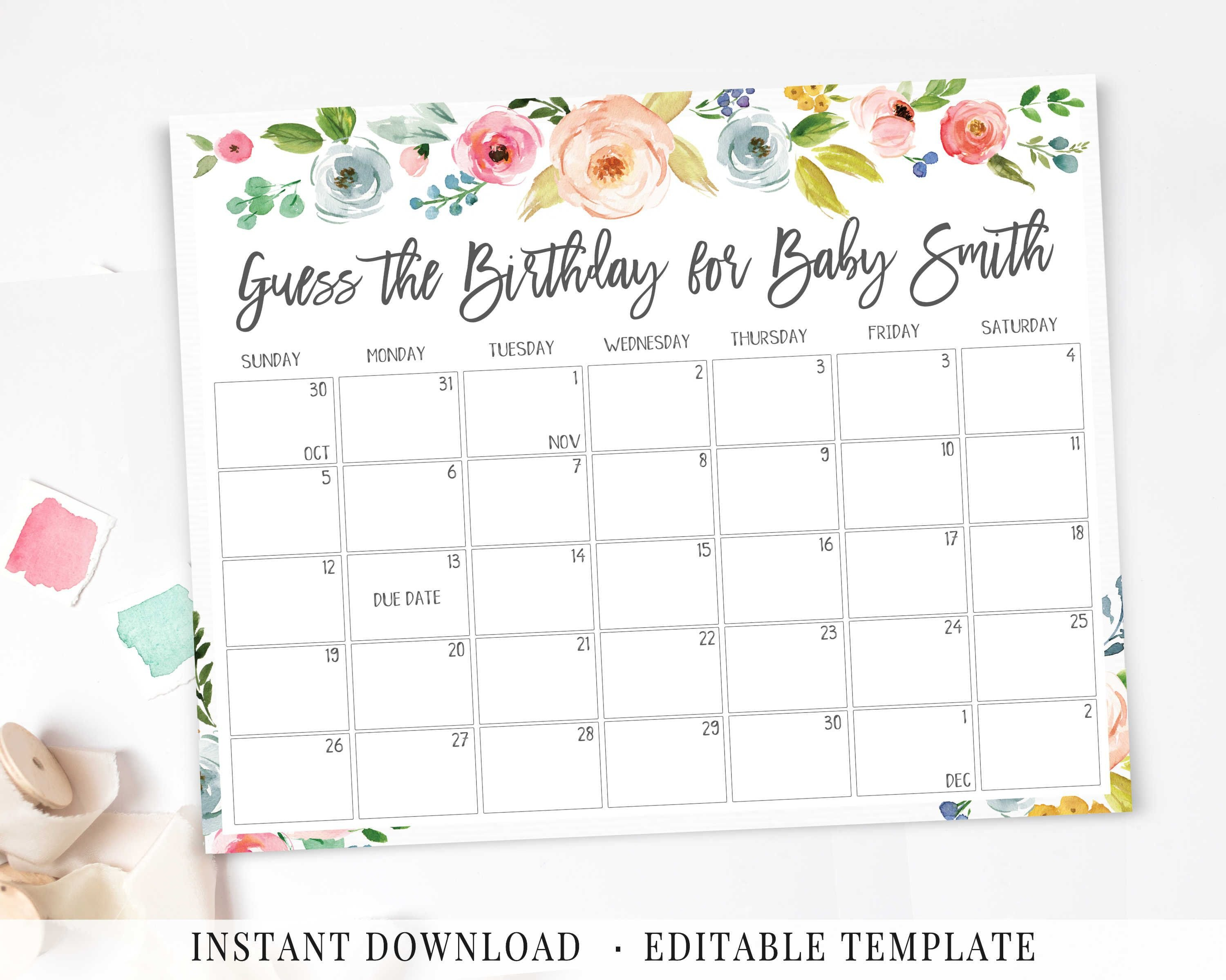 Baby Due Date Calendar, Printable Game, Guess Baby Birthday Due Date Calendar Printable