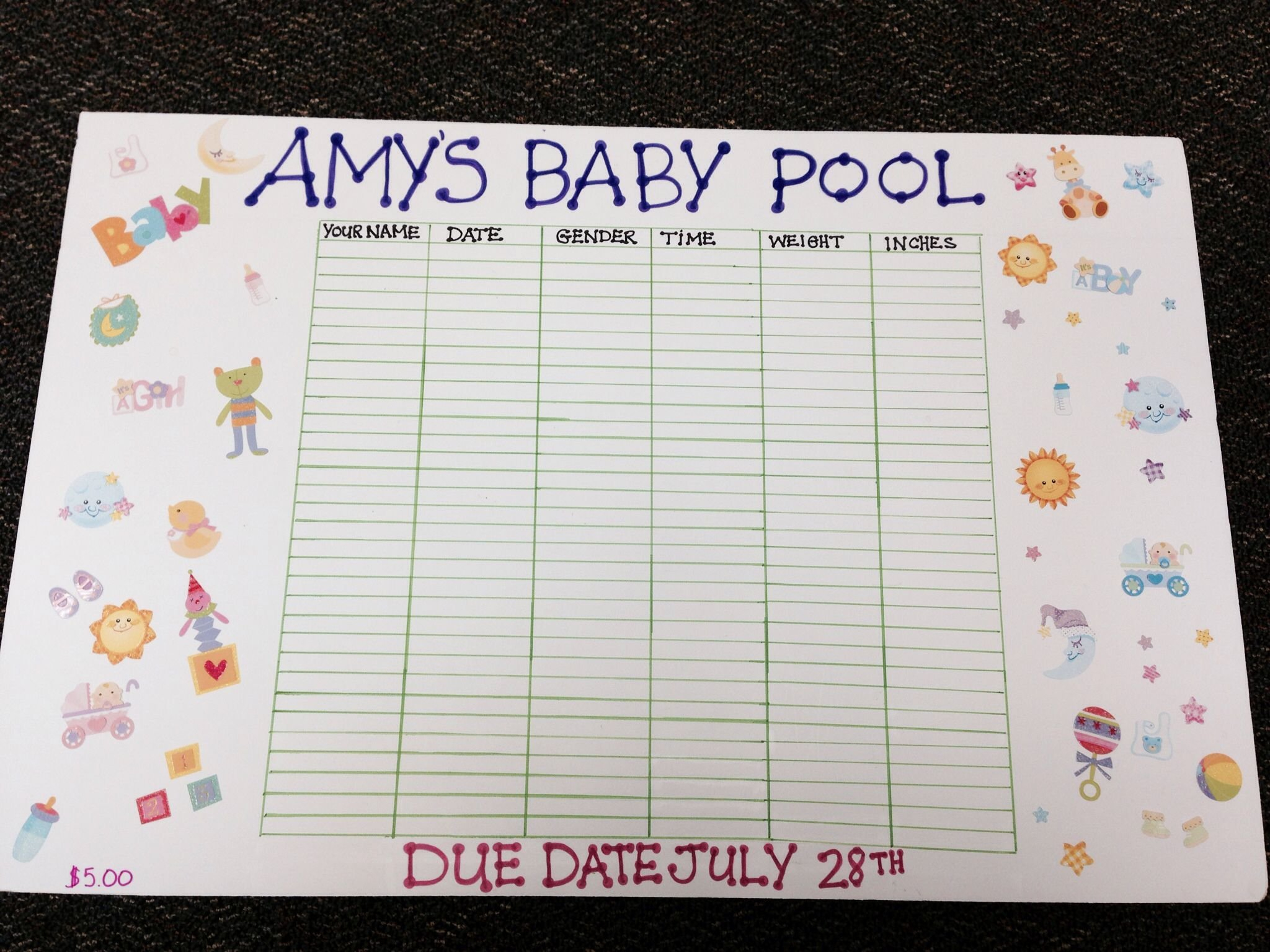 Baby Pool! | Baby Pool, Baby Guessing Game, Baby Due Date Printable Baby Guess Date