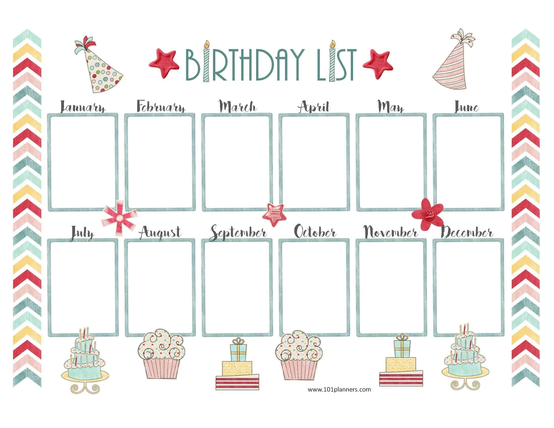Birthday Calendar Template Birthday Calendar Fill In Online