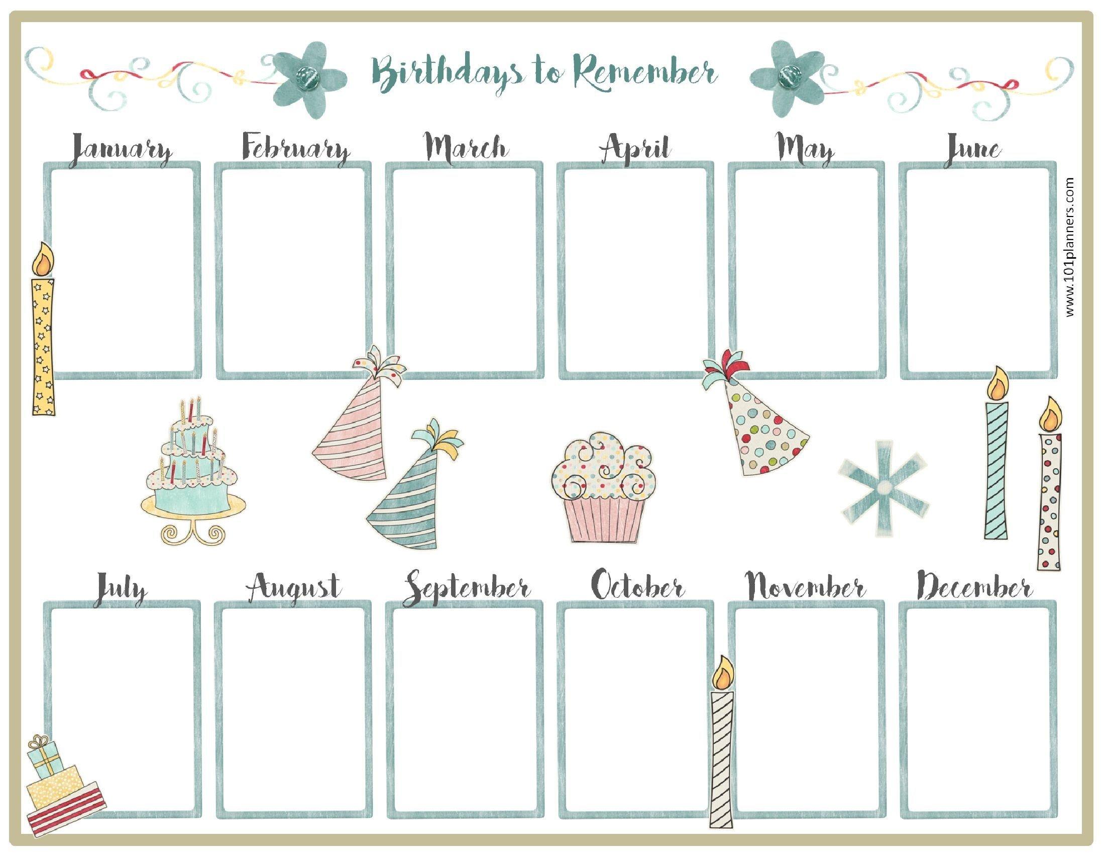 Birthday Calendar Template (С Изображениями) | День Рождения Free Birthday Calendar For The Workplace