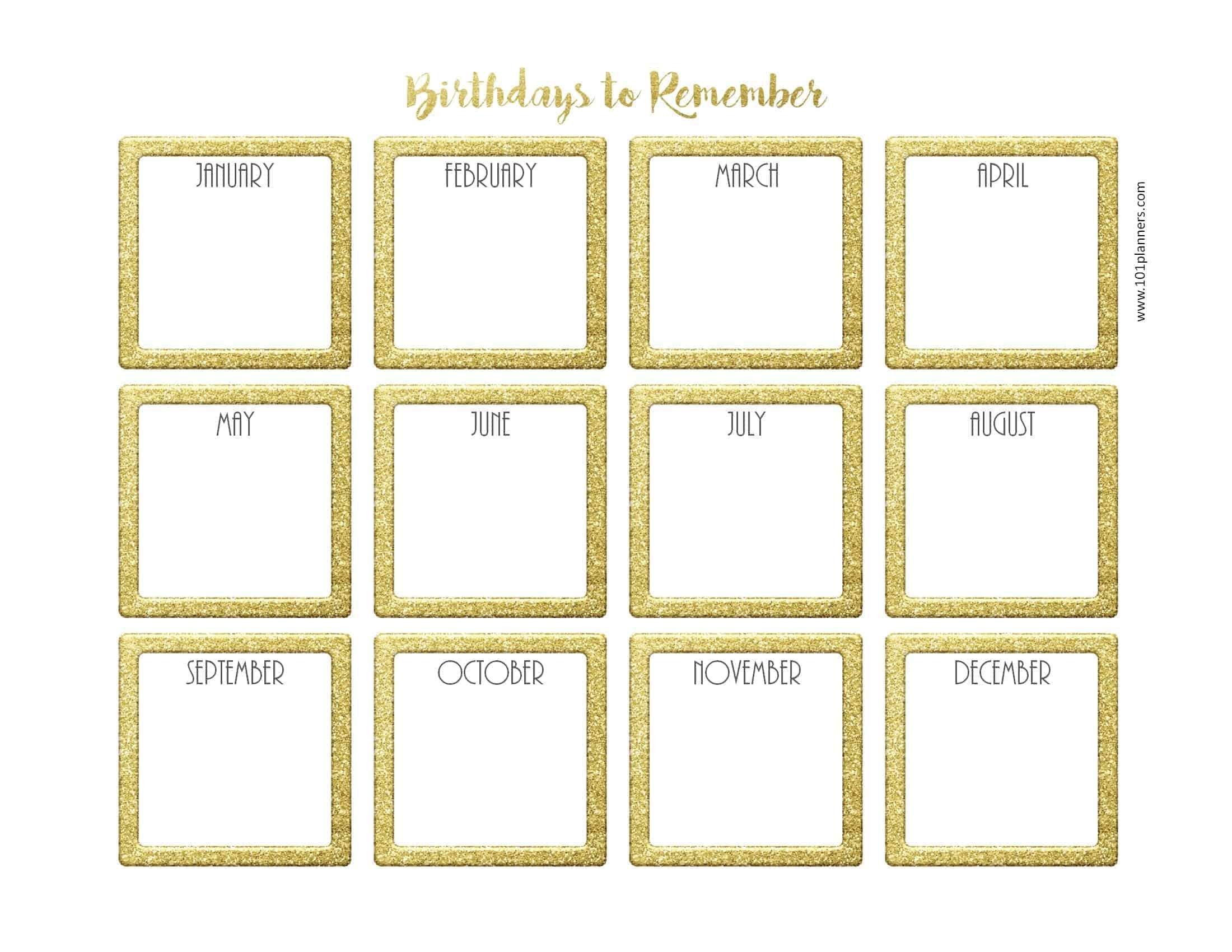 Birthday Calendar Template Free Birthday Calendar For The Workplace