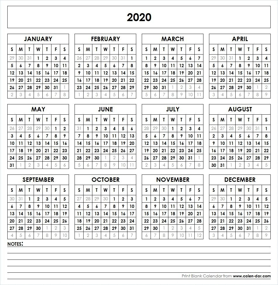 Blank 2020 Printable Calendar Template Pdf | Yearly Calendar 4 Year Printable Calendar