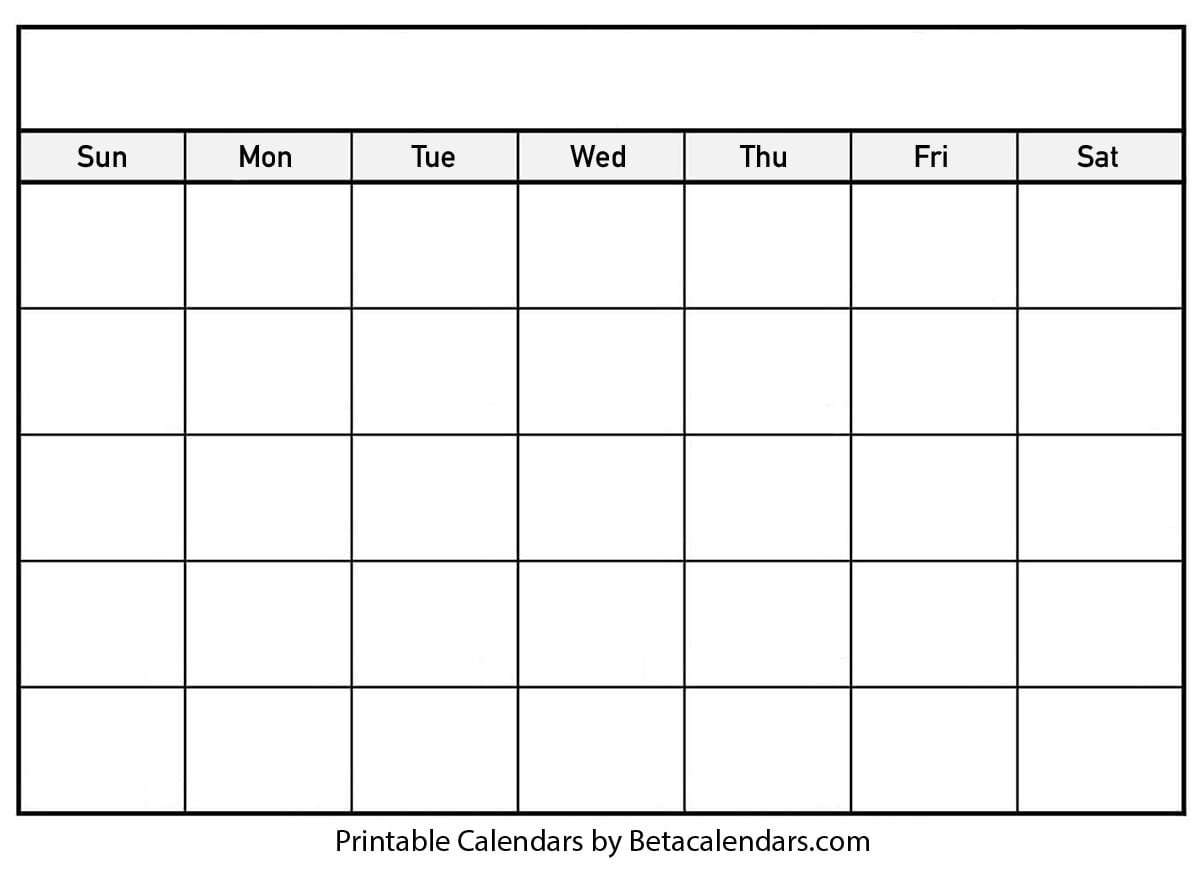 Blank Calendar - Beta Calendars Fill In Blank Calendar Templates