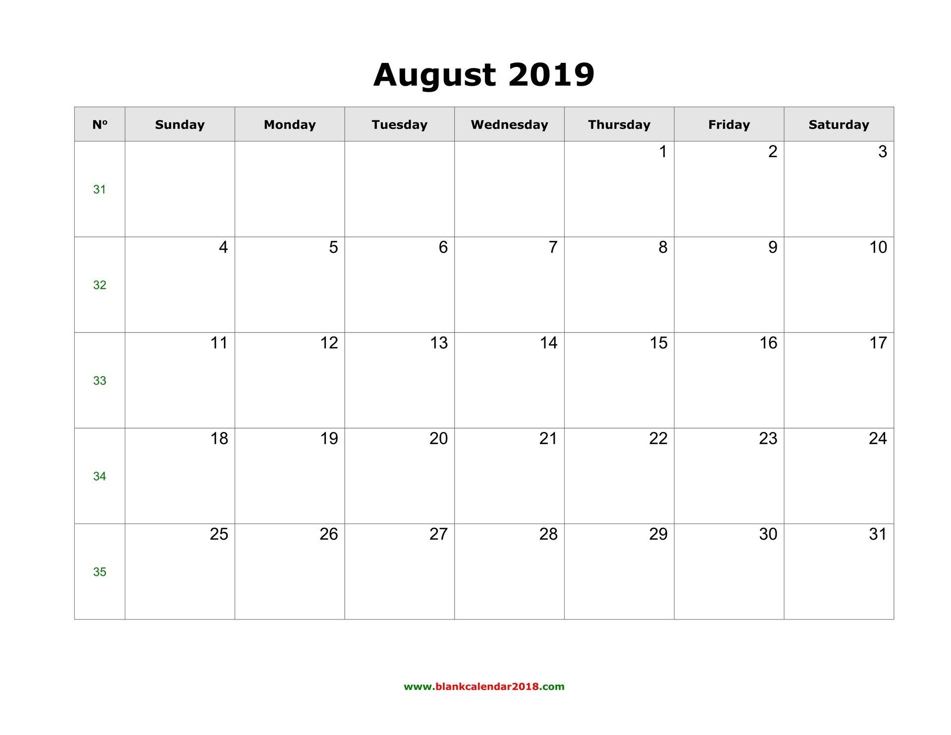 Blank Calendar For August 2019 Monday Through Sunday Calendar Word